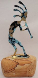 Kokopelli pewter with a sand stone base