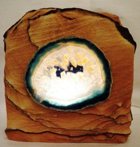 Desert sandstone night light with a Brazilian agate slab